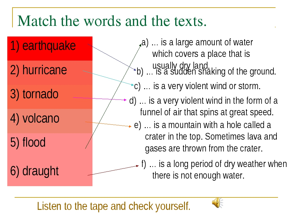 Match the words and the texts. a) … is a large amount of water which covers a...