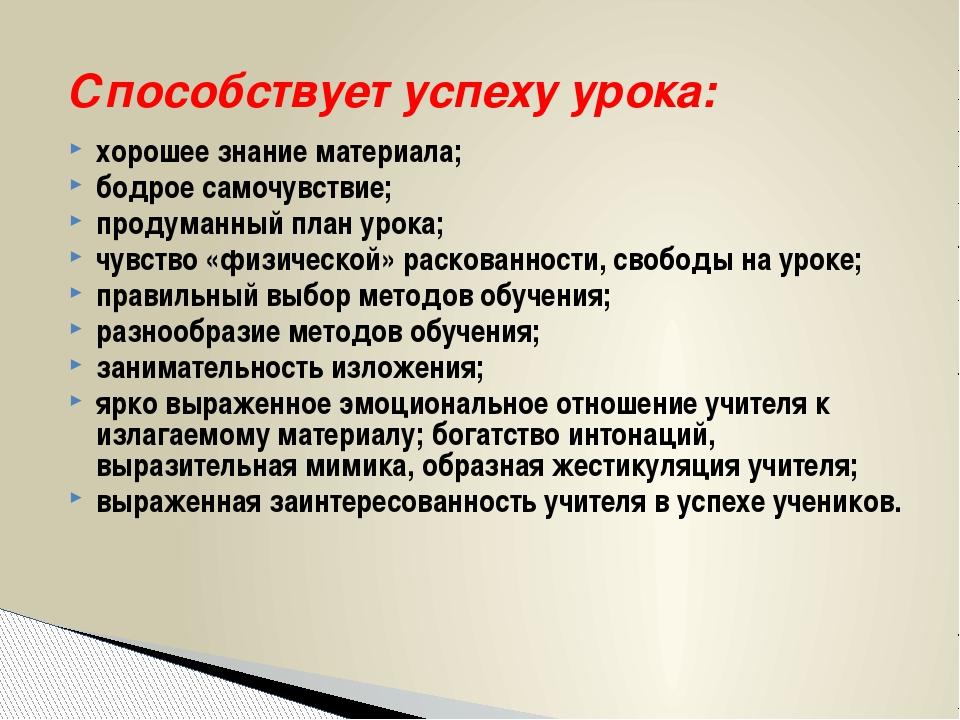 Способствует успеху урока: хорошее знание материала; бодрое самочувствие;...