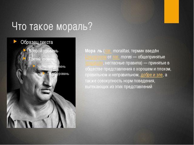 Что такое мораль? Мора́ль (лат.moralitas, термин введён Цицероном от лат.mo...