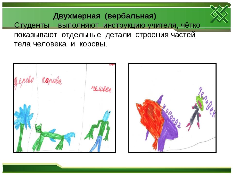 Двухмерная (вербальная) Студенты выполняют инструкцию учителя, чётко показыв...