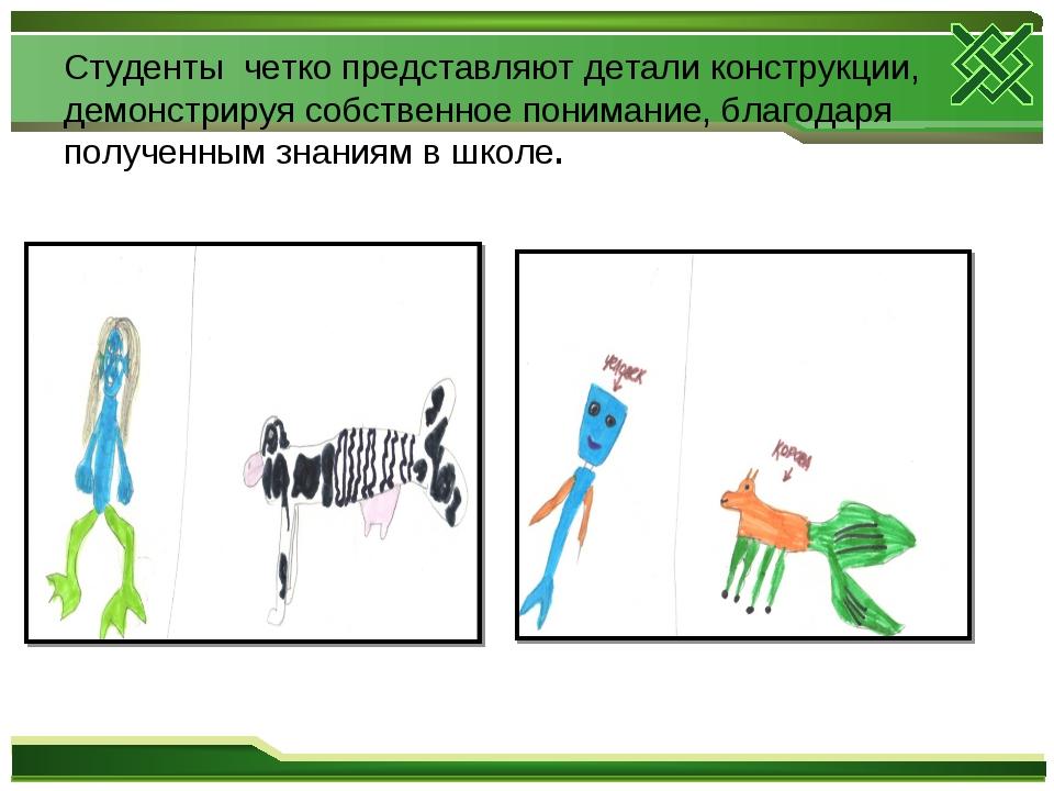 Студенты четко представляют детали конструкции, демонстрируя собственное пони...