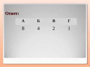 Ответ: АБВГ 8421