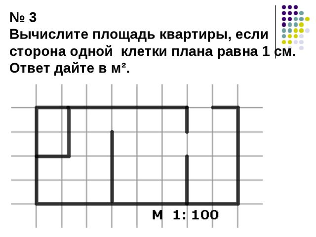 № 3 Вычислите площадь квартиры, если сторона одной клетки плана равна 1 см. О...