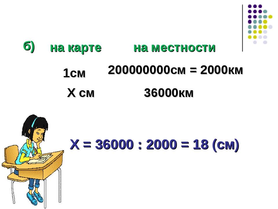 б) Х = 36000 : 2000 = 18 (см) 1см Х см 200000000см = 2000км 36000км на карте...