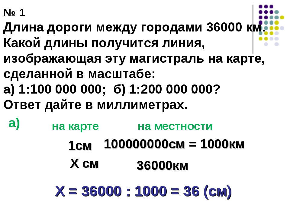 № 1 Длина дороги между городами 36000 км. Какой длины получится линия, изобра...