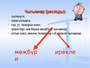 Чыгымнар (расходы): туклануга; кием-салымга; газ, ут, телефон өчен; транспорт