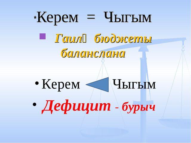 *Керем = Чыгым Гаилә бюджеты баланслана Керем Чыгым Дефицит - бурыч