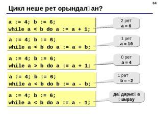 * Цикл неше рет орындалған? a := 4; b := 6; while a < b do a := a + 1; 2 рет