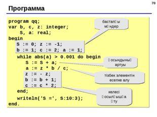 * Программа program qq; var b, c, z: integer; S, a: real; begin S := 0; z :=