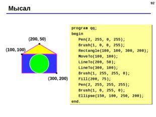* Мысал (200, 50) (100, 100) (300, 200) program qq; begin Pen(2, 255, 0, 255)