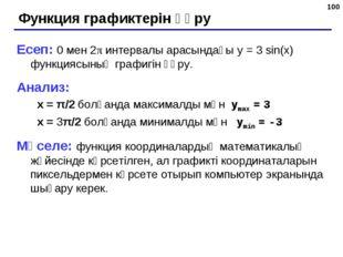 * Функция графиктерін құру Есеп: 0 мен 2π интервалы арасындағы y = 3 sin(x) ф
