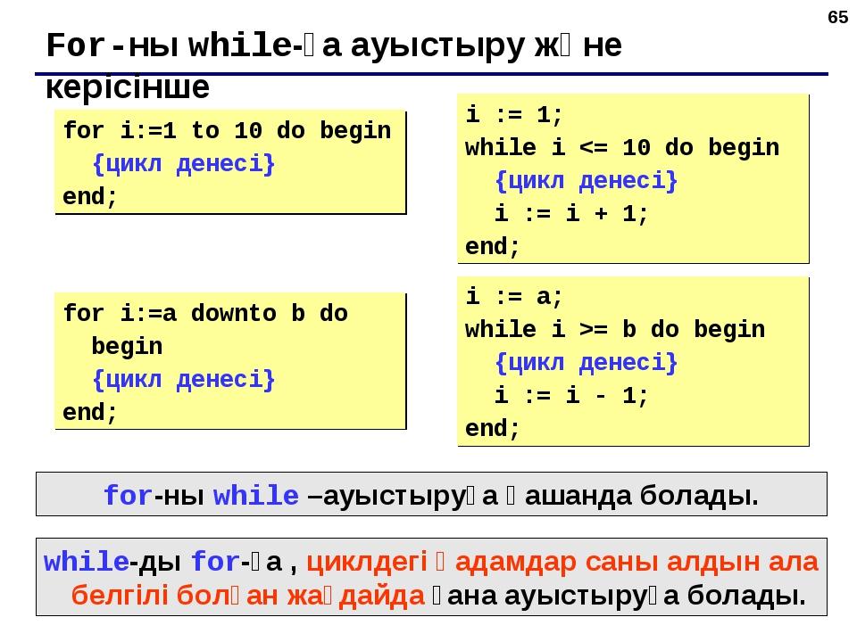 * For-ны while-ға ауыстыру және керісінше for i:=1 to 10 do begin {цикл денес...