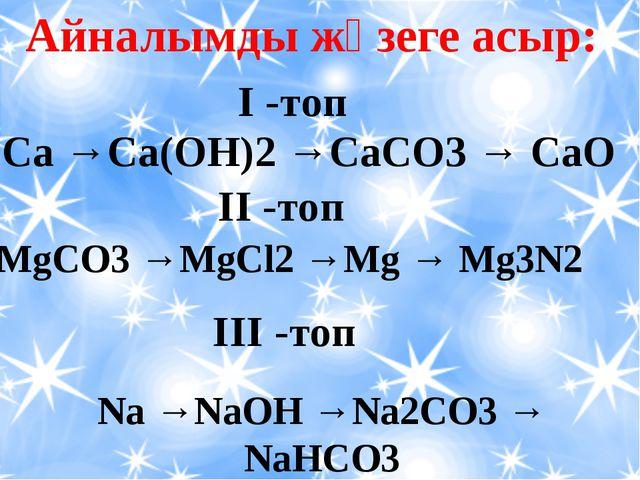 Айналымды жүзеге асыр: Ca →Ca(OH)2 →CaCO3 → CaO І -топ ІІ -топ MgCO3 →MgCl2...