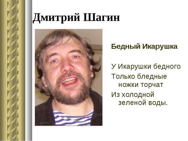 Дмитрий Шагин Бедный Икарушка У Икарушки бедного Только бледные ножки торчат...