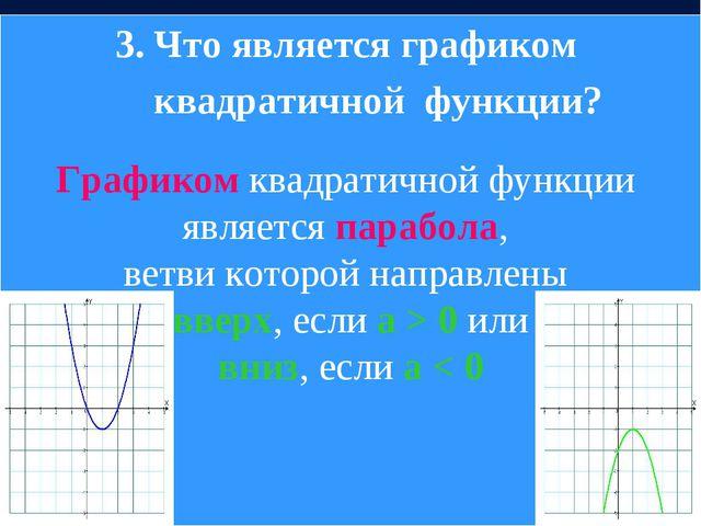 3. Что является графиком квадратичной функции? Графиком квадратичной функции...