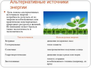 Альтернативные источники энергии Цель поиска альтернативных источников энерг