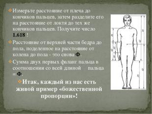 Измерьте расстояние от плеча до кончиков пальцев, затем разделите его на расс