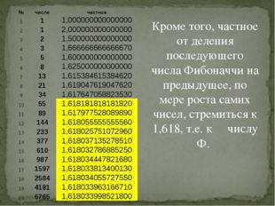 Кроме того, частное от деления последующего числа Фибоначчи на предыдущее, по