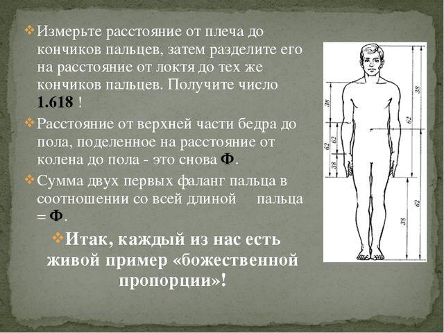 Измерьте расстояние от плеча до кончиков пальцев, затем разделите его на расс...