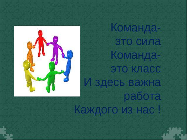 Команда-это сила Команда-это класс И здесь важна работа Каждого из нас !