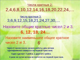 Числа кратные 2: 2,4,6,8,10,12,14,16,18,20,22,24,… Числа кратные 3: 3,6,9,12,