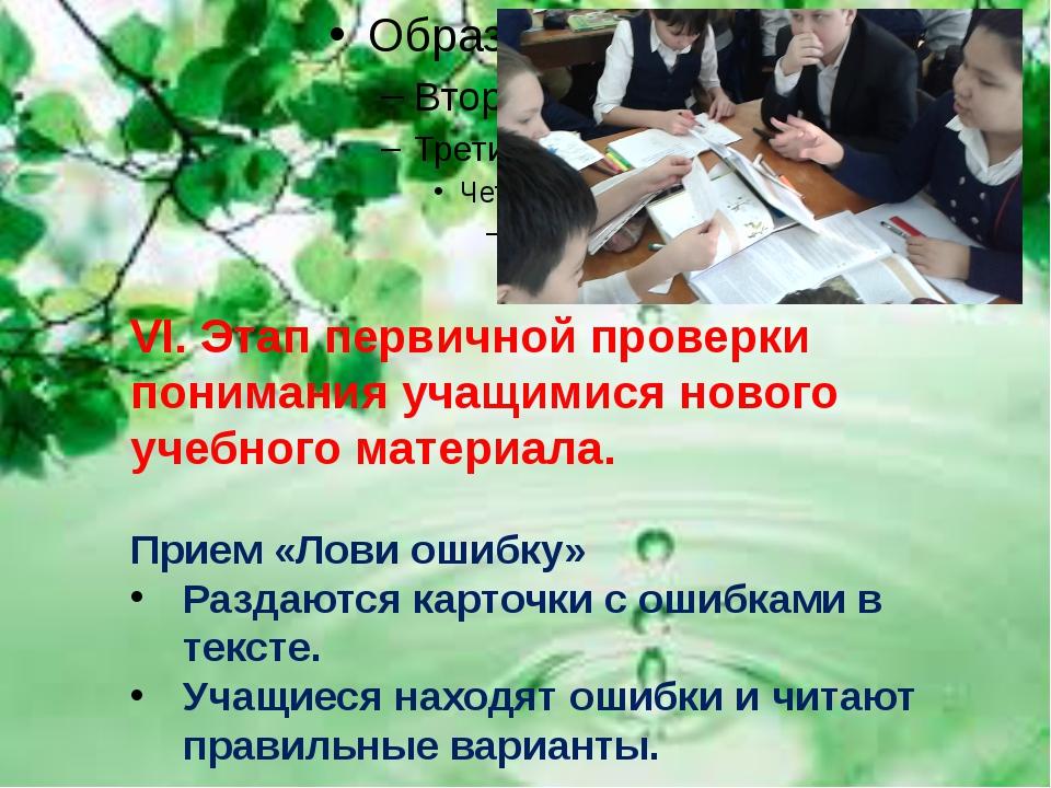 VI. Этап первичной проверки понимания учащимися нового учебного материала. П...