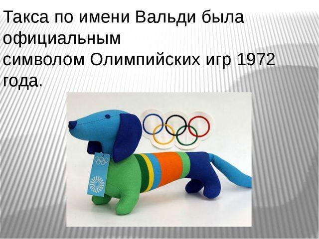 Такса по имени Вальди была официальным символомОлимпийских игр 1972 года.