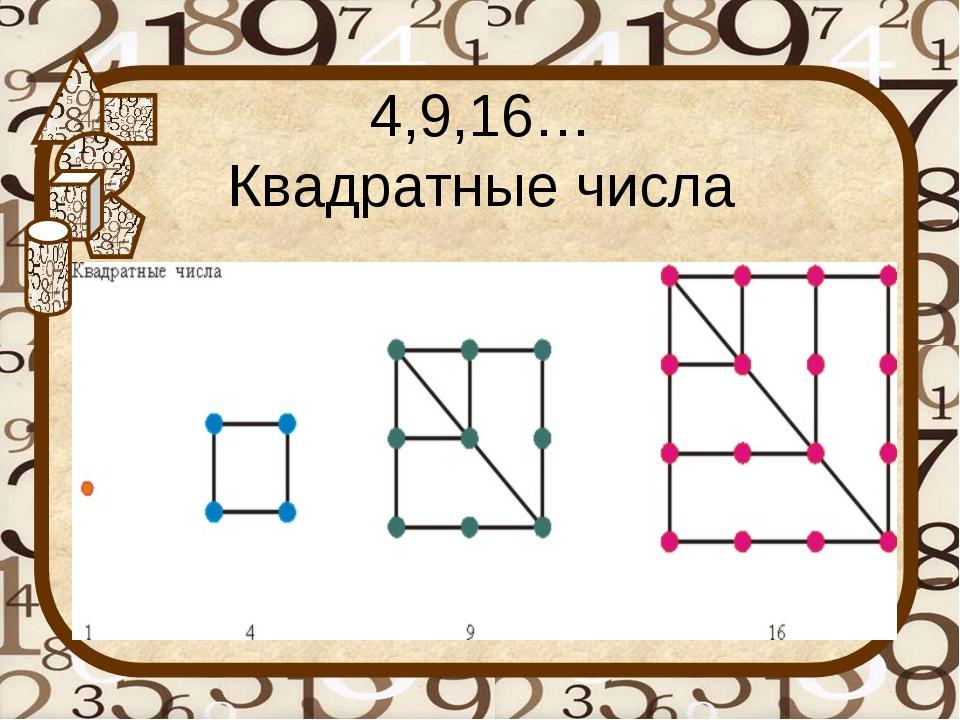4,9,16… Квадратные числа