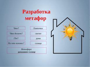 Метафора домашнее солнце Что? Лампочка Что делает? светит На что похоже? солн