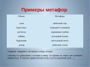 Примеры метафор Задание: придумать метафоры в виду загадок: «Захожу я в домаш