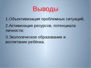 Выводы 1.Объективизация проблемных ситуаций; 2.Активизация ресурсов, потенциа
