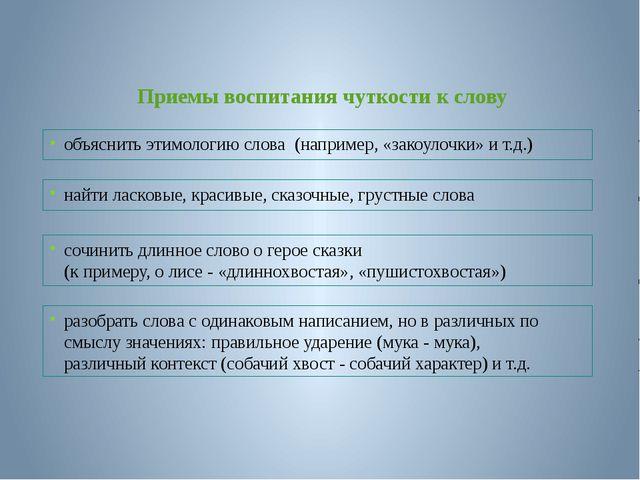 объяснить этимологию слова (например, «закоулочки» и т.д.) Приемы воспитания...