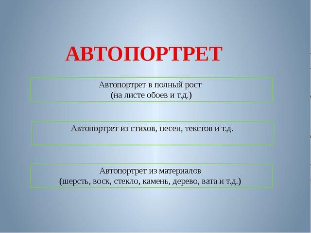 АВТОПОРТРЕТ Автопортрет в полный рост (на листе обоев и т.д.) Автопортрет из...
