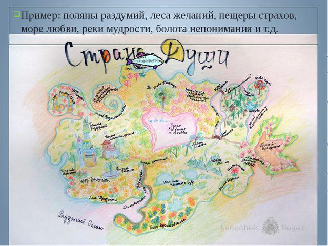 Пример: поляны раздумий, леса желаний, пещеры страхов, море любви, реки мудро...