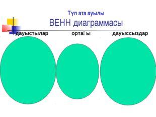 Түп ата ауылы ВЕНН диаграммасы дауыстылар ортағы дауыссыздар