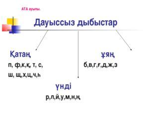 Дауыссыз дыбыстар Қатаң ұяң п, ф,к,қ, т, с, б,в,г,ғ,д,ж,з ш, щ,х,ц,ч,һ үнді