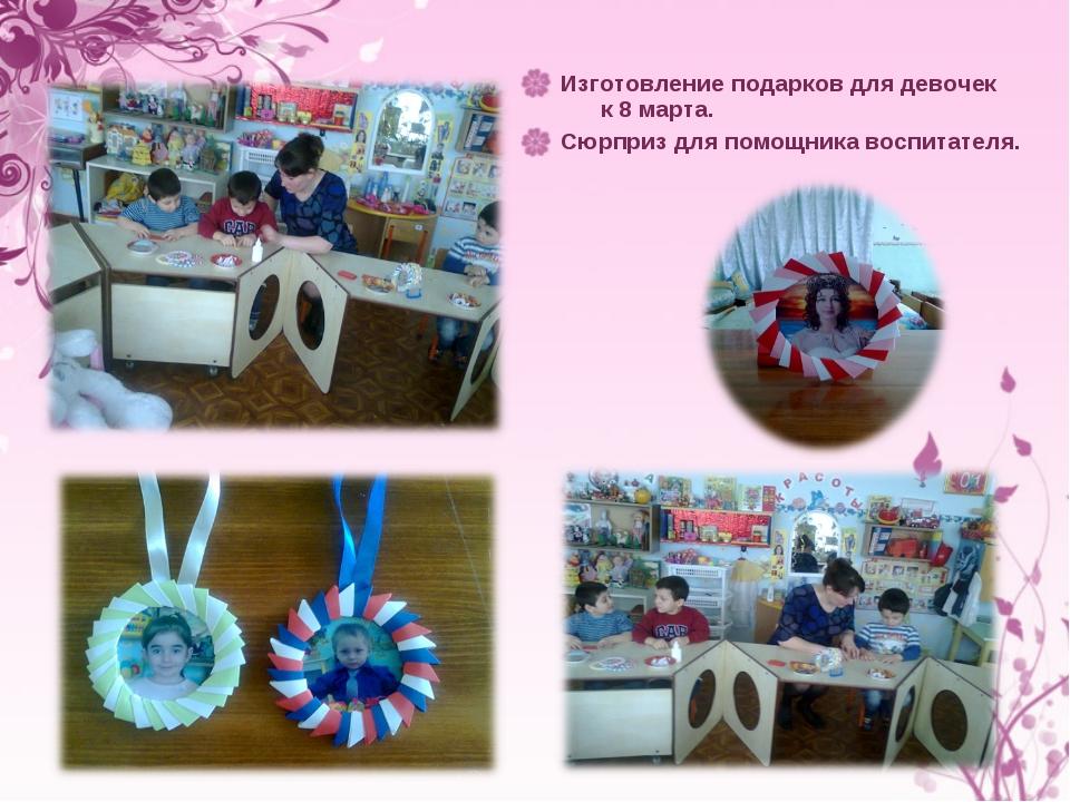 Изготовление подарков для девочек к 8 марта. Сюрприз для помощника воспитателя.