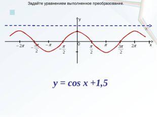 x y 0 X' Задайте уравнением выполненное преобразование. y = cos x +1,5