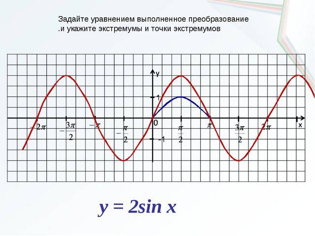 Задайте уравнением выполненное преобразование .и укажите экстремумы и точки э...