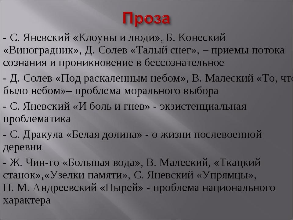 - С.Яневский «Клоуны и люди», Б.Конеский «Виноградник», Д.Солев «Талый сне...