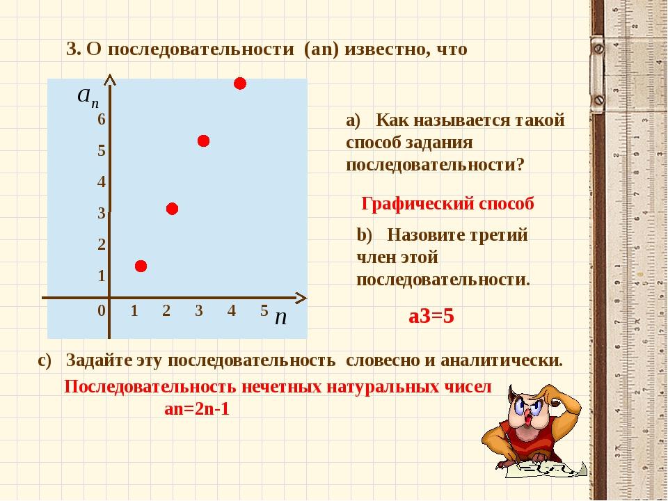 3. О последовательности (an) известно, что a) Как называется такой способ зад...
