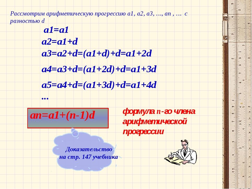 a1=a1 an=a1+(n-1)d формула n-го члена арифметической прогрессии a2=a1+d a3=a...
