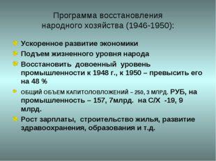 Программа восстановления народного хозяйства (1946-1950): Ускоренное развитие