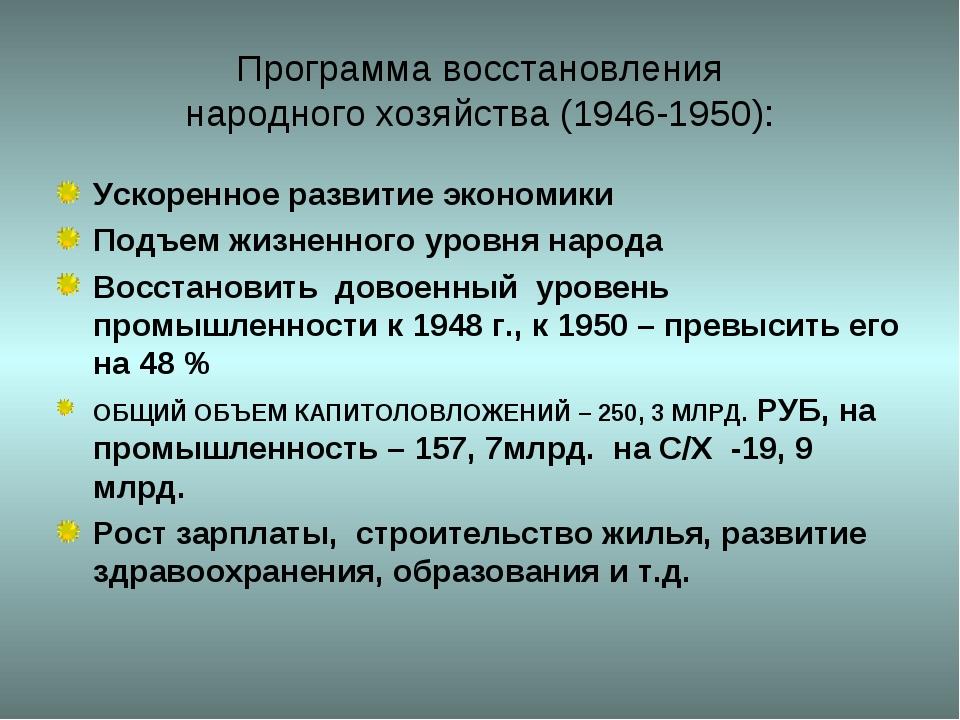 Программа восстановления народного хозяйства (1946-1950): Ускоренное развитие...