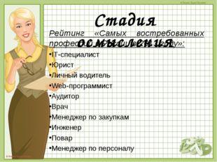 Рейтинг «Самых востребованных профессий в России в 2013 году»: Рейтинг «Самы