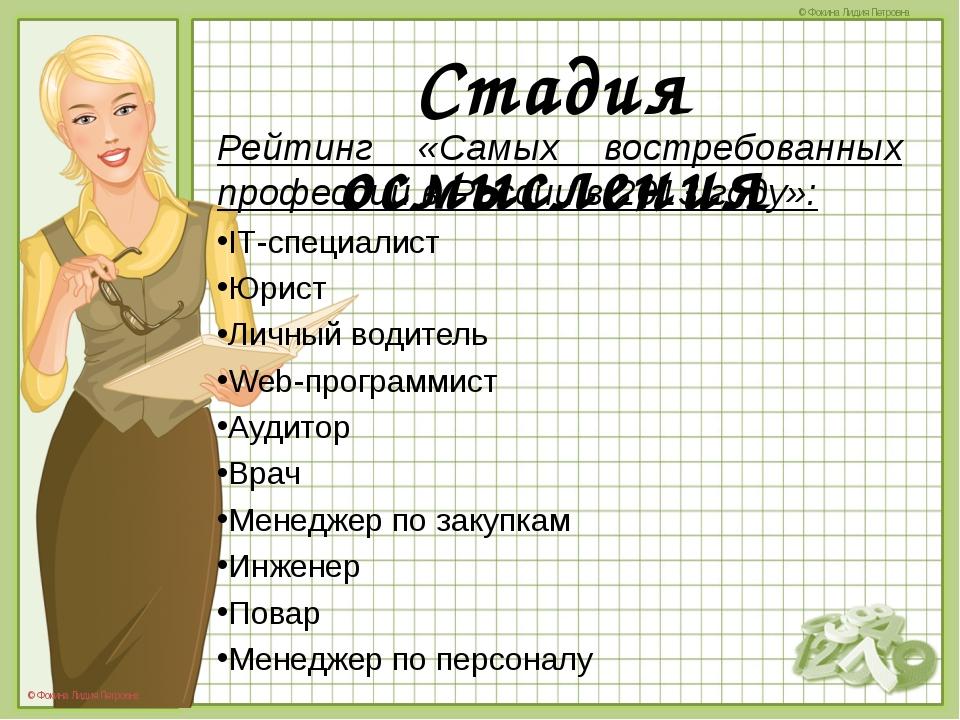 Рейтинг «Самых востребованных профессий в России в 2013 году»: Рейтинг «Самы...