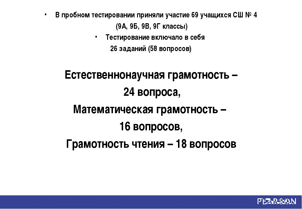 В пробном тестировании приняли участие 69 учащихся СШ № 4 (9А, 9Б, 9В, 9Г кла...