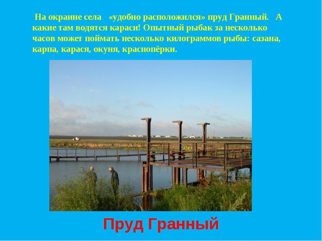 На окраине села «удобно расположился» пруд Гранный. А какие там водятся кара...