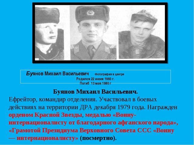 Буянов Михаил Васильевич. Ефрейтор, командир отделения. Участвовал в боевых д...