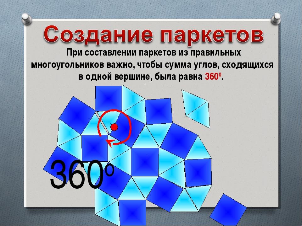 При составлении паркетов из правильных многоугольников важно, чтобы сумма уг...